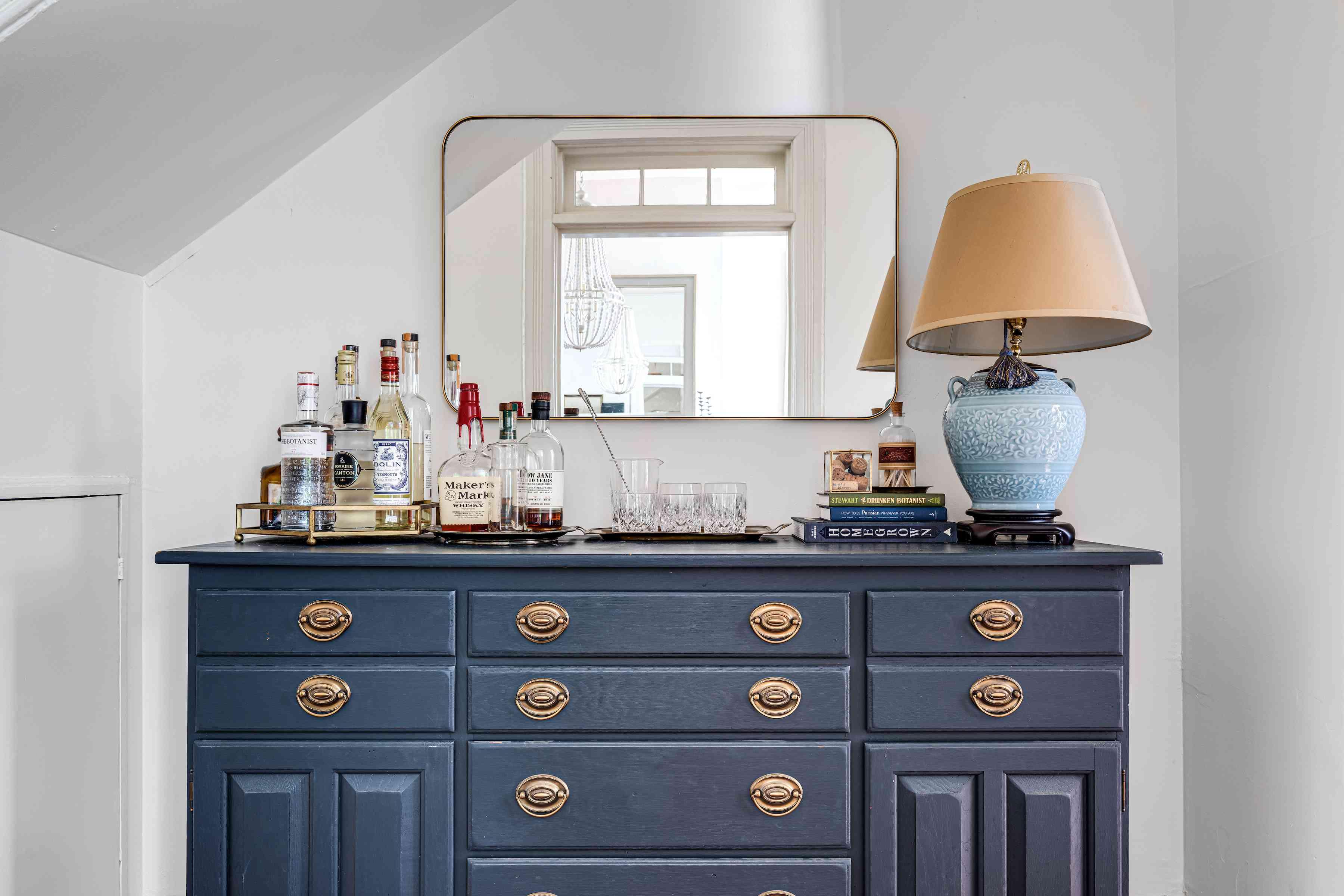 Blue vintage dresser with wet bar.