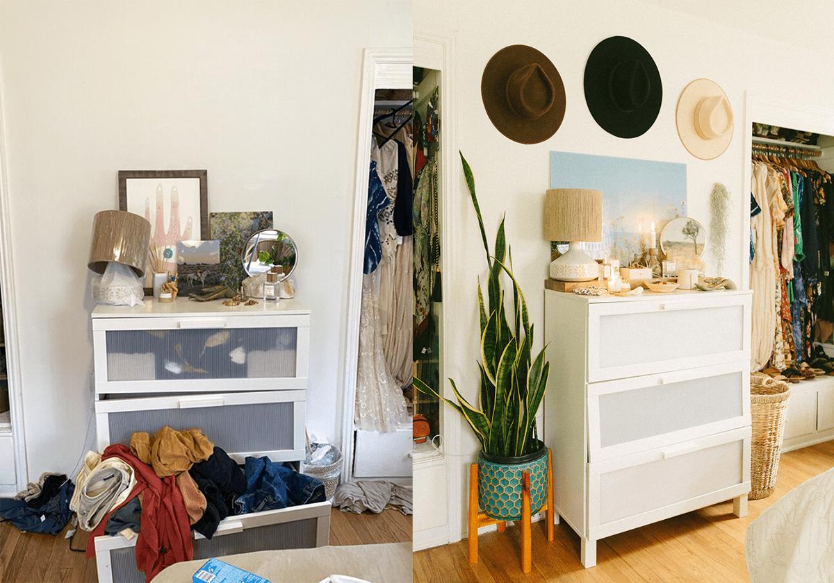 A closet makeover involving a dresser and decor revamp