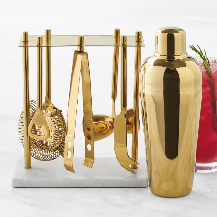 Williams Sonoma Gold Bar Tools Set with Cocktail Shaker