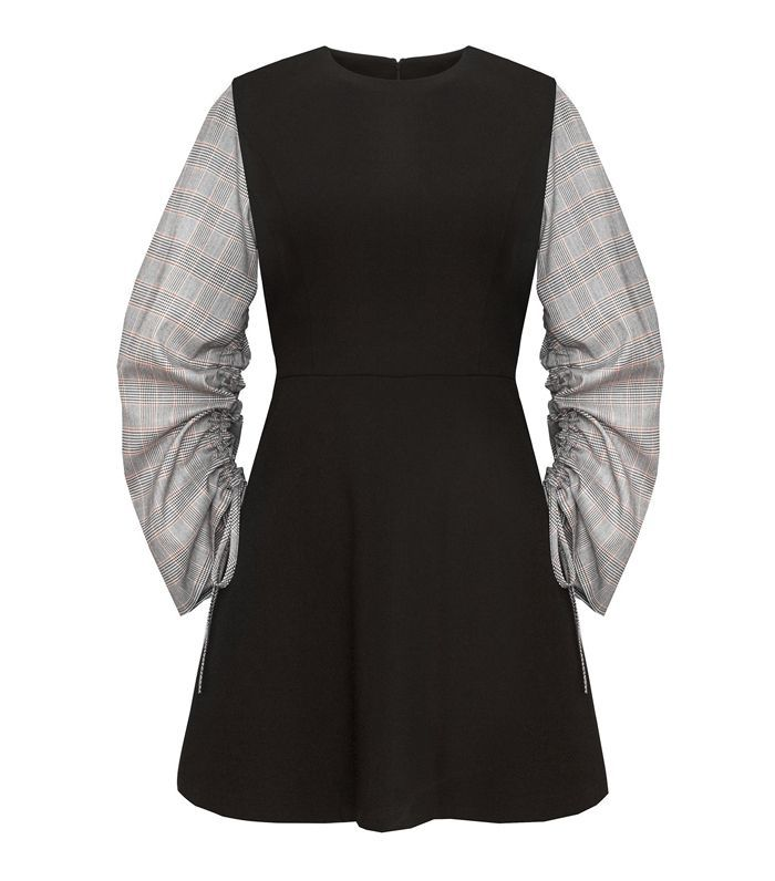 Pixie Market Romie Check Ruched Sleeve Dress