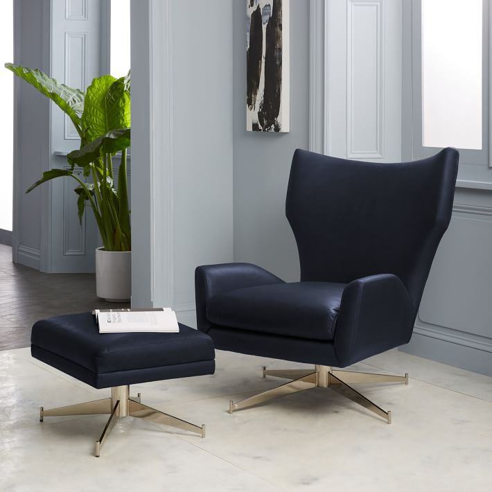 West Elm - Hemming Leather Swivel Armchair