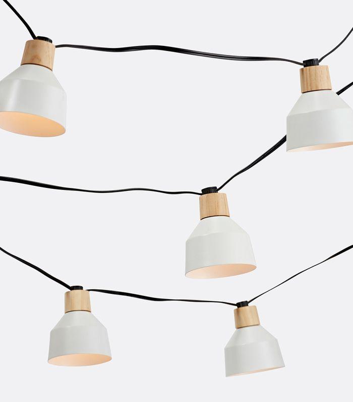 Matte White & Oak Dome Wood & Metal Dome String Lights
