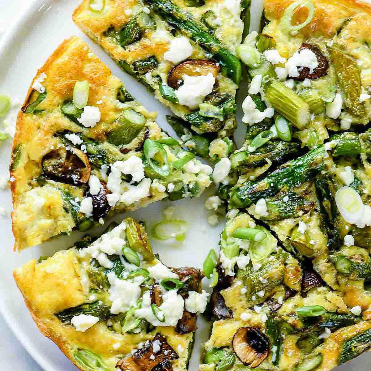 Asparagus And Mushroom Frittata With Goat Cheese—Easy Asparagus Recipes