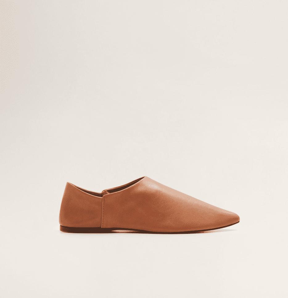 Mango Pointed Toe Leather Babouche