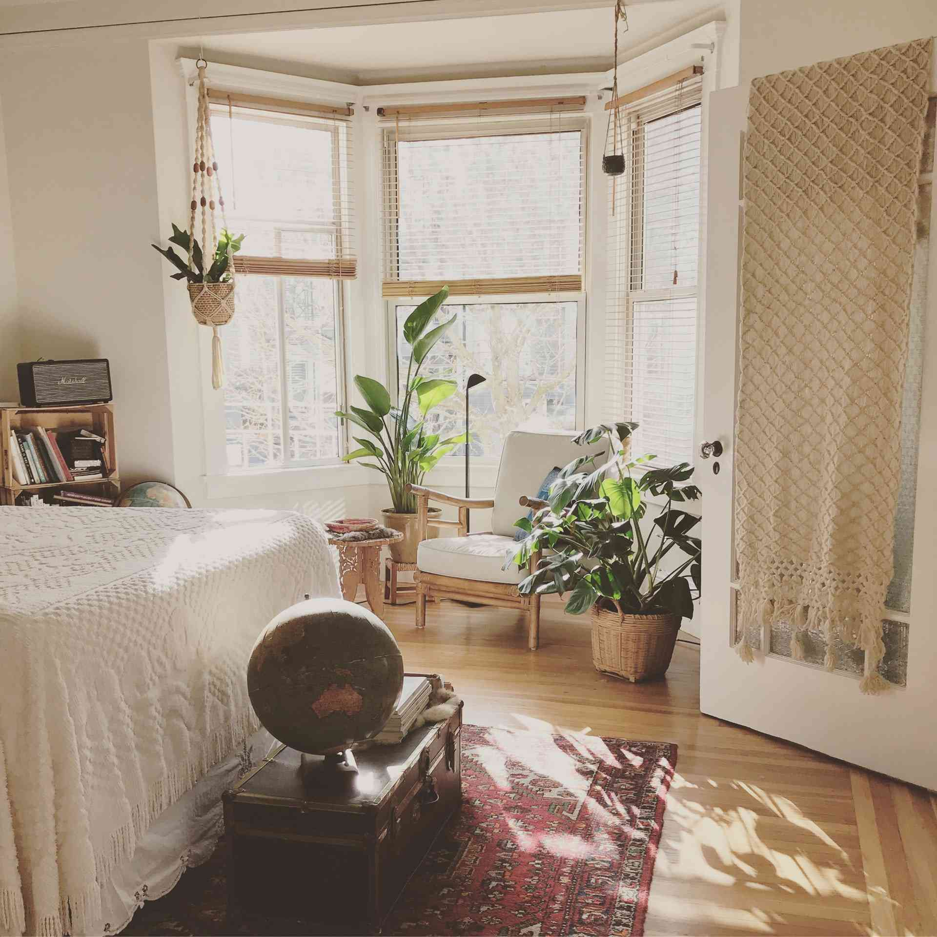 cozy bedroom with chair by window