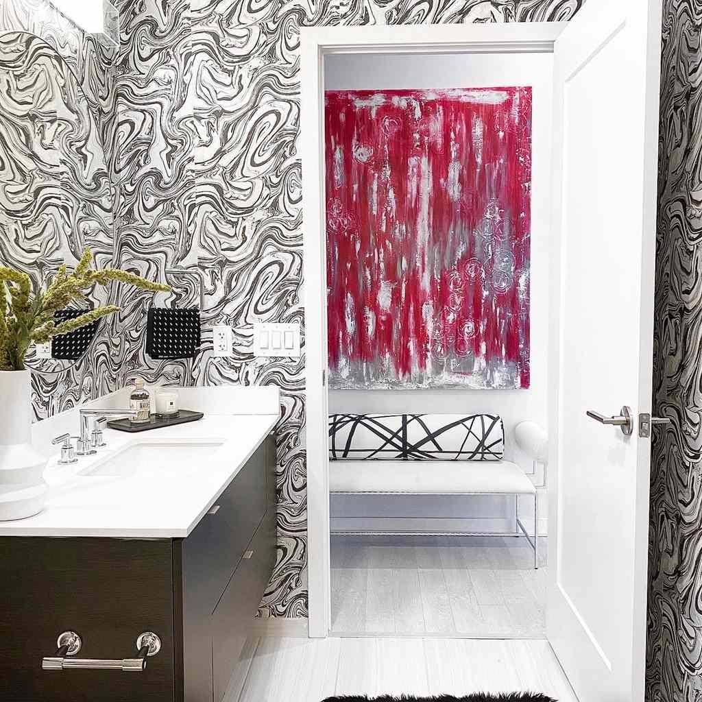 Bathroom with gray wallpaper