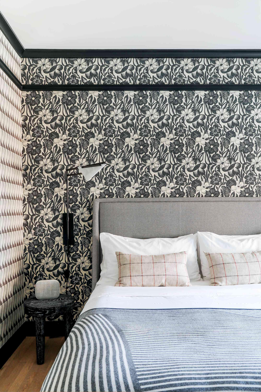 Bedroom with wallpaper