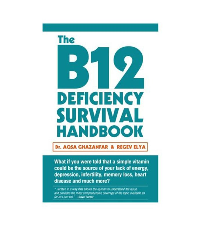 The B12 Deficiency Survival Handbook book cover with aqua and orange writing.