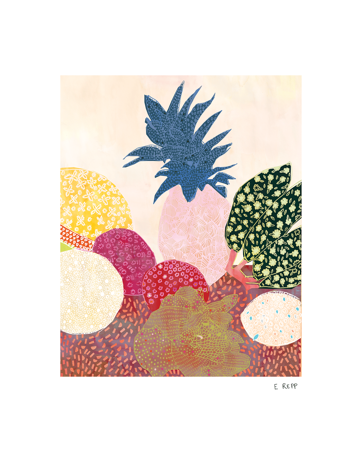 Brightly colored painting of tropical fruit