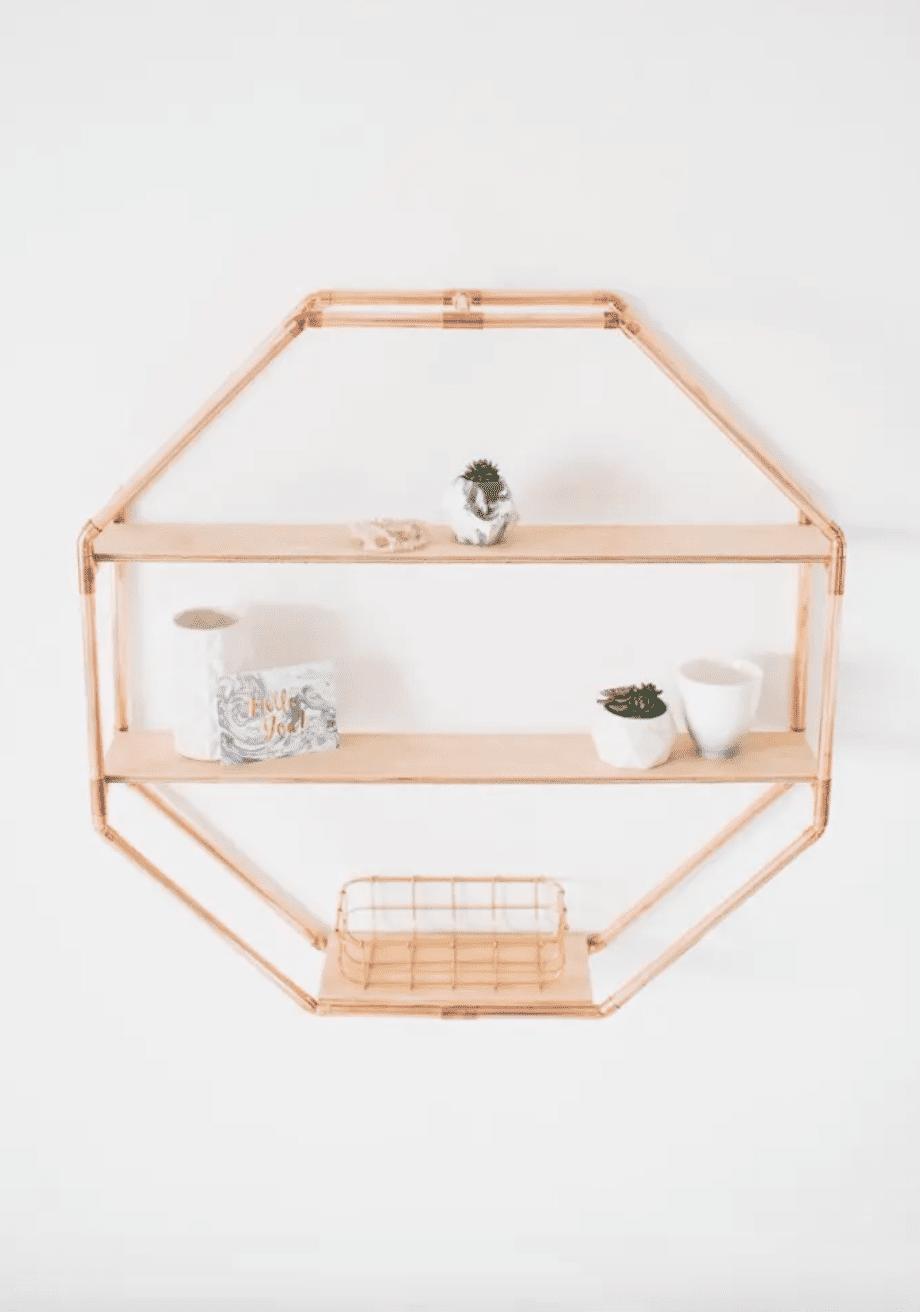 Copper Octagon Statement Shelf Wall Hanging