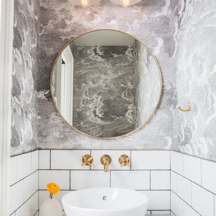 Small powder room with wallpaper