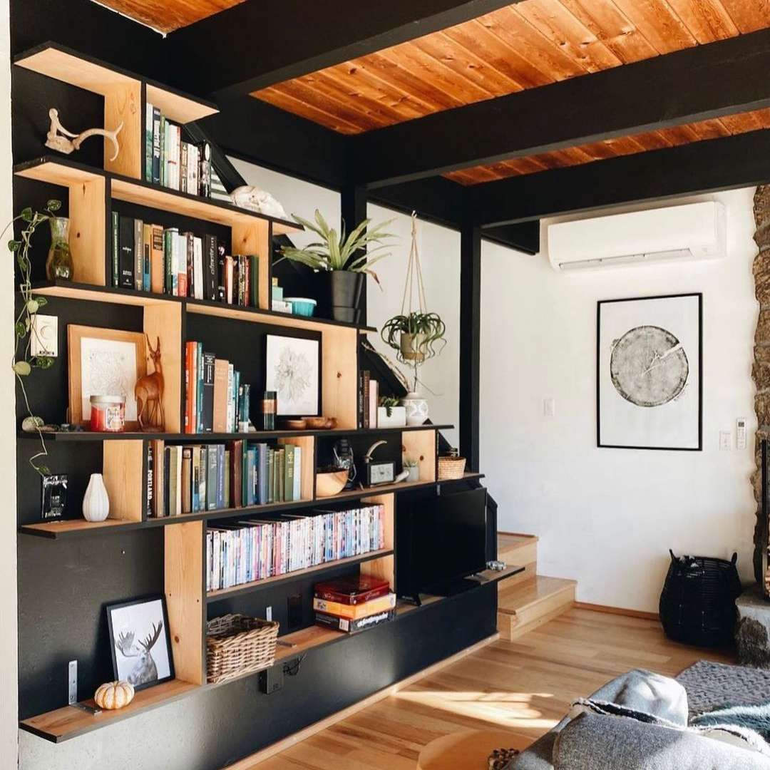 Black built ins on wall