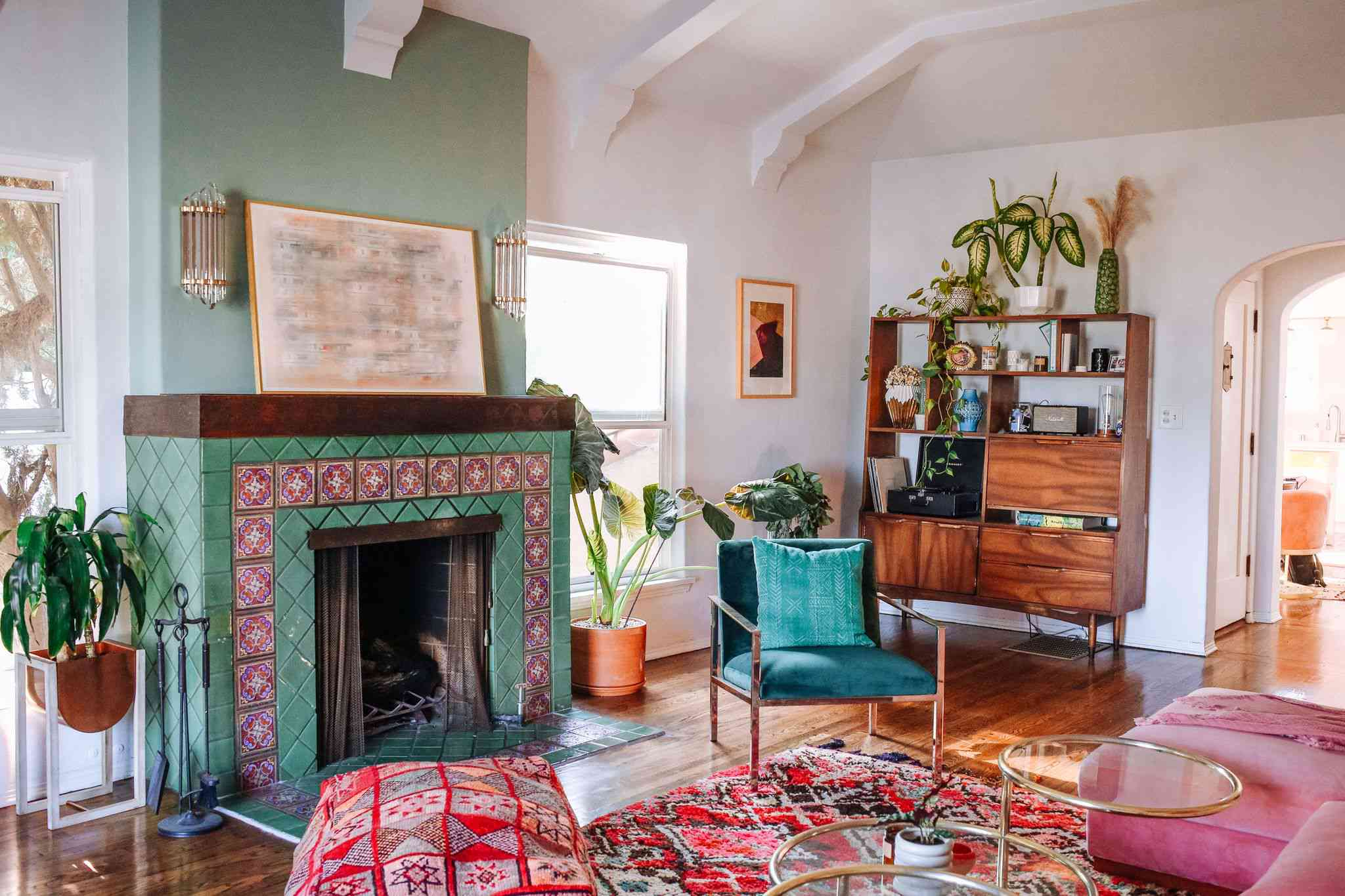Fireplace with a green blue paint