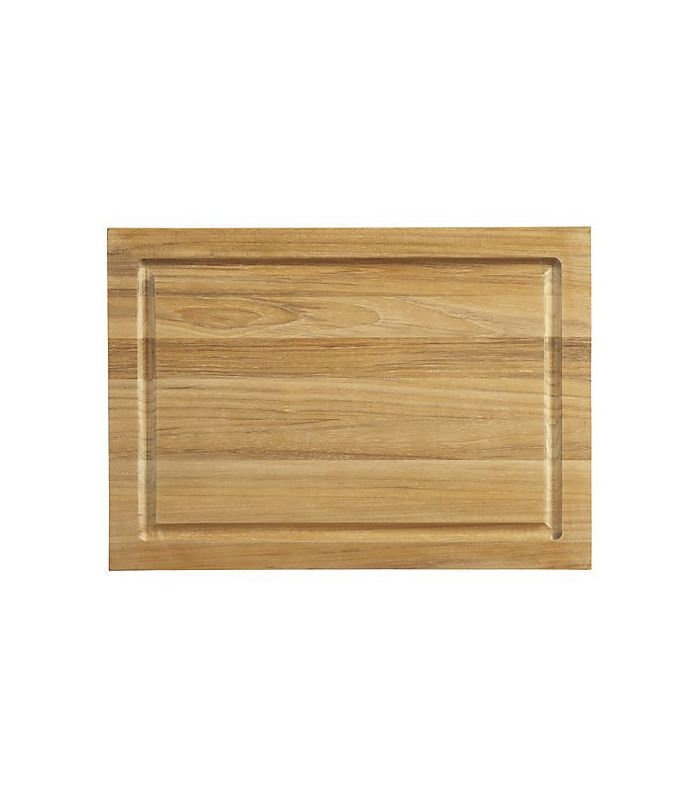 FSC Teak Small Rectangular Cutting Board with Well - Crate and Barrel
