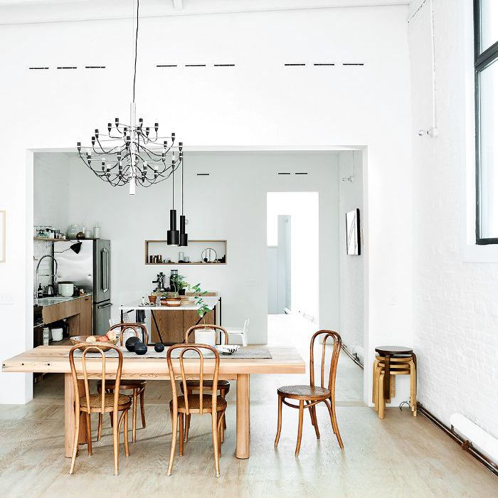 a dining room with industrial decor