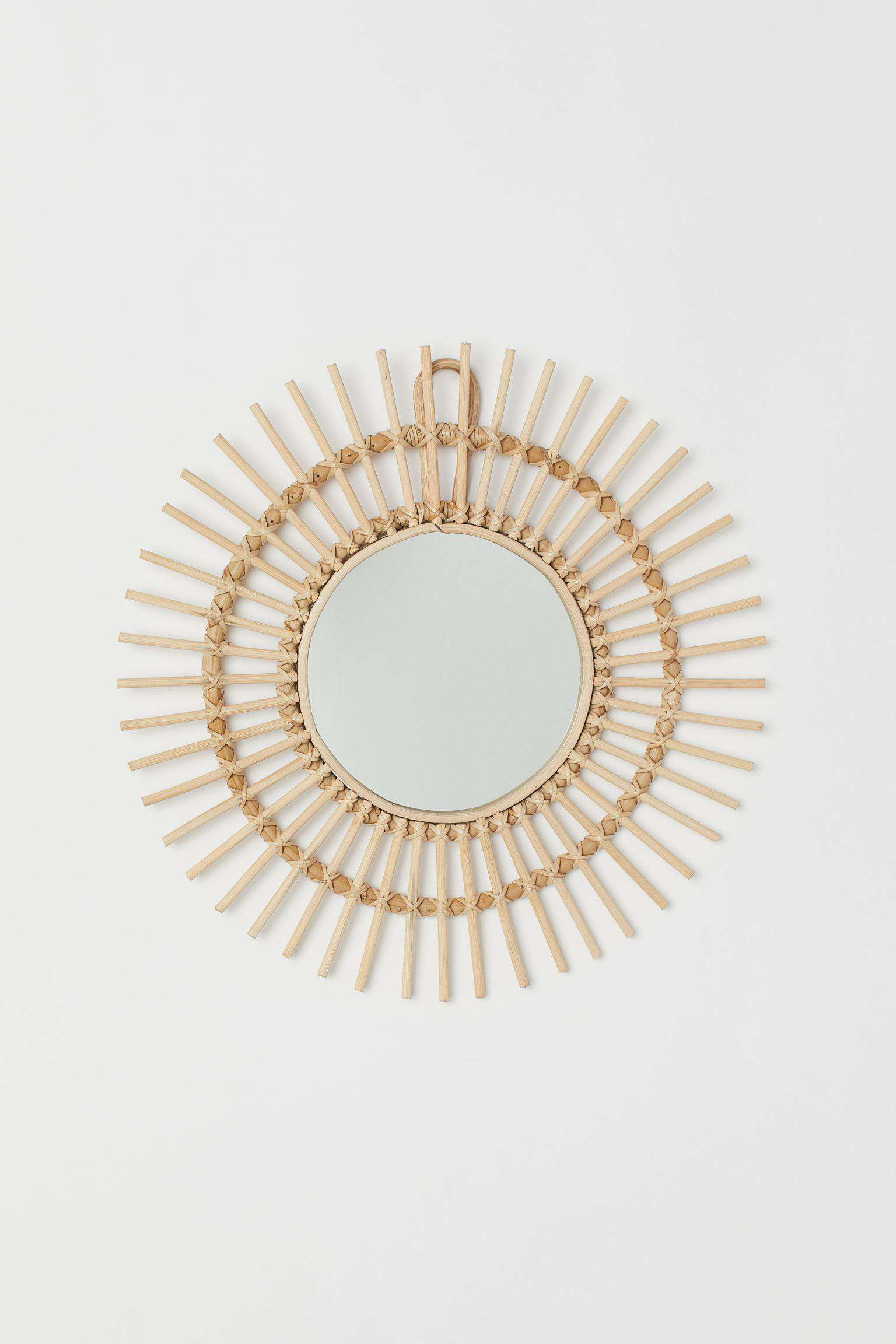 Mirror with rattan frame.