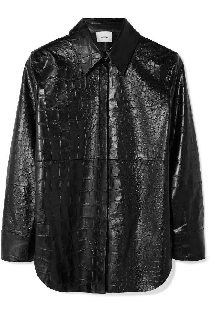 Naum Croc-effect Vegan Faux Leather Shirt
