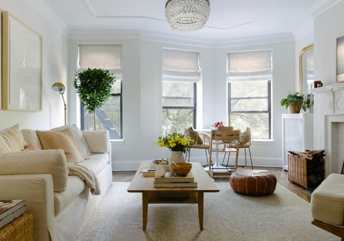 Living room with neutral accents.