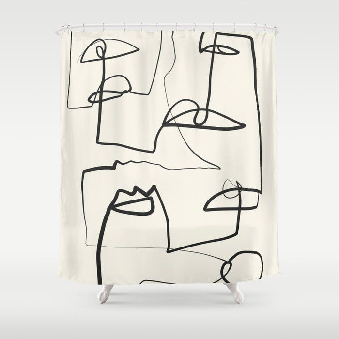 Society6 Thing Design Abstract Line Art Shower Curtain
