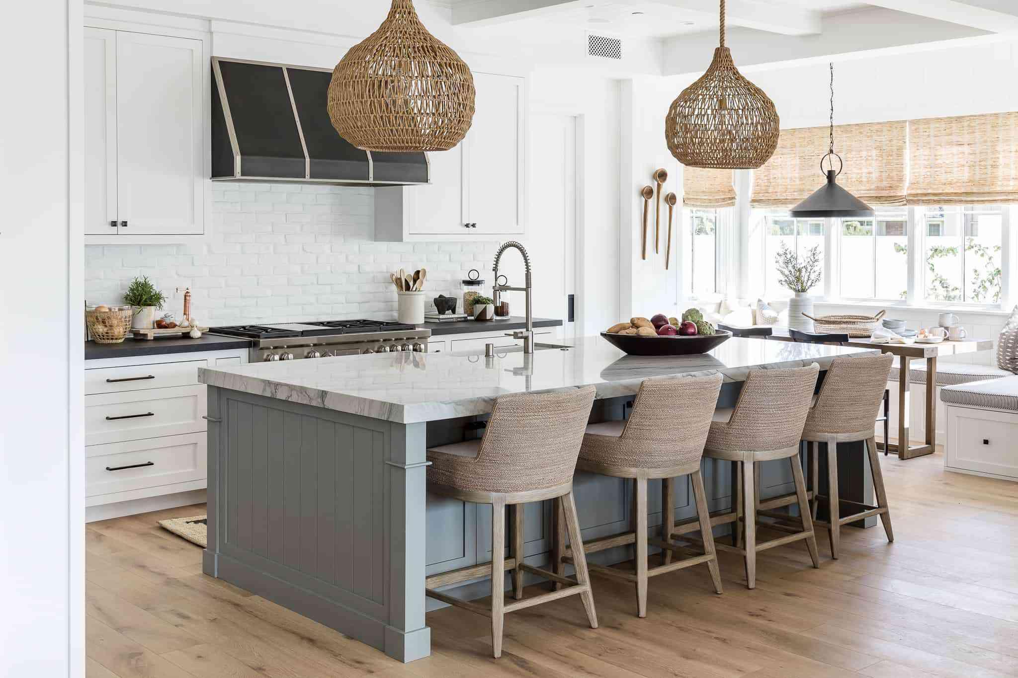 kitchen with white painted brick backsplash