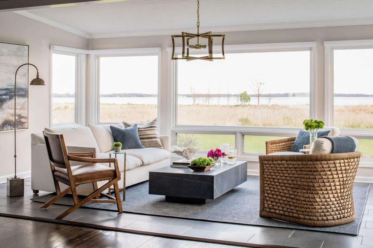 Liz Mearns home tour - living room with big windows