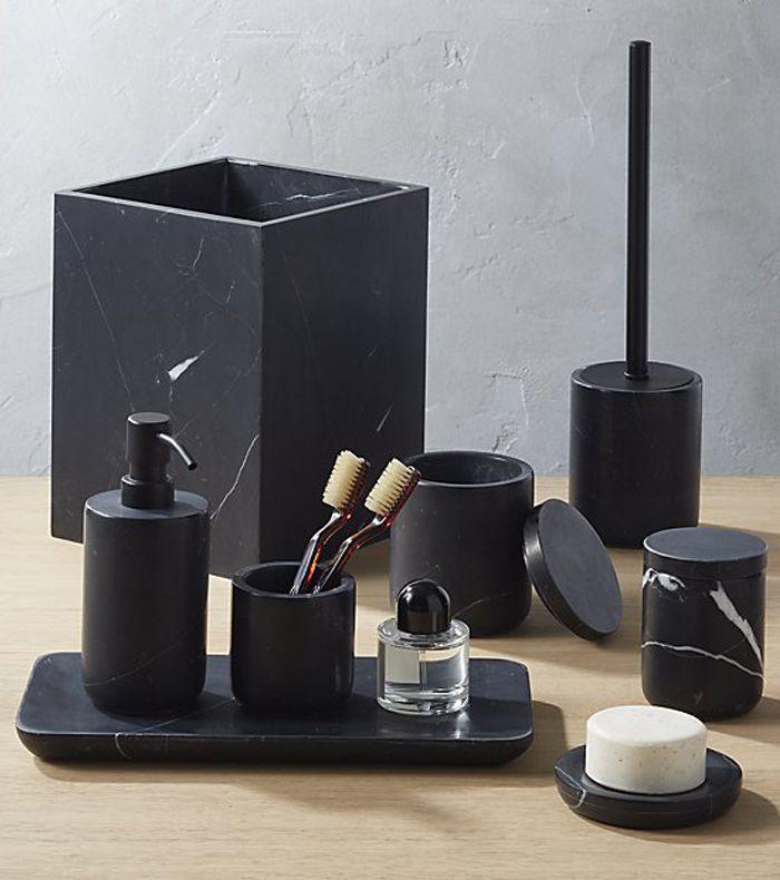 CB2 Nexus Black Marble Bath Accessories