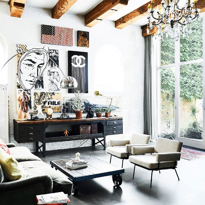 living room with vintage industrial decor