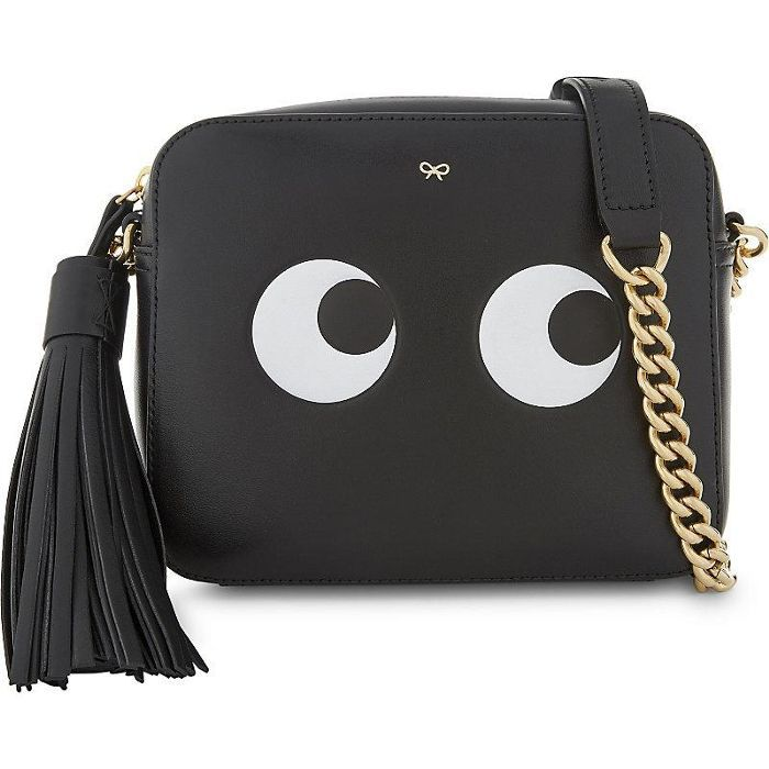 Leather eyes design cross-body bag