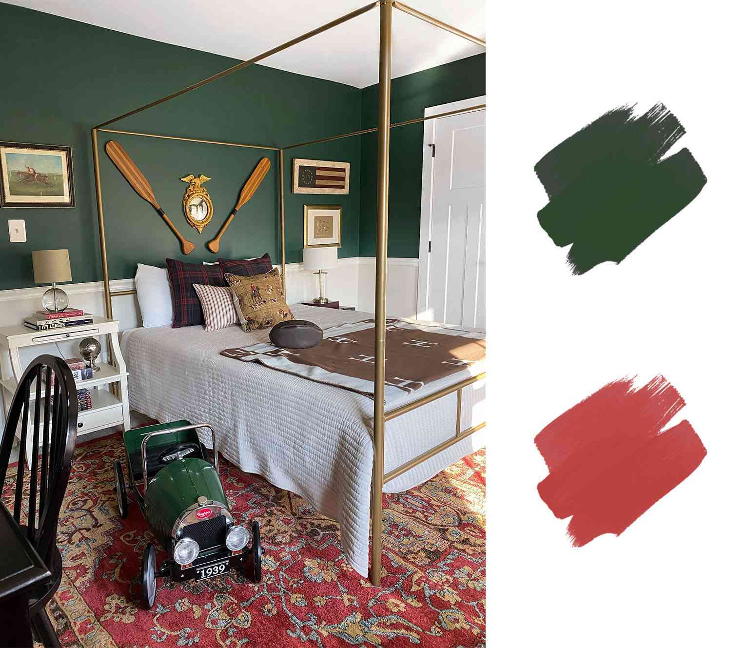 best interior color schemes - hunter green and red