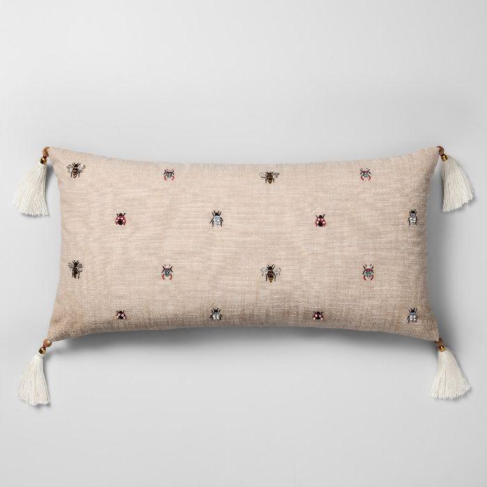 Opalhouse Beaded Bug Oversize Lumbar Throw Pillow