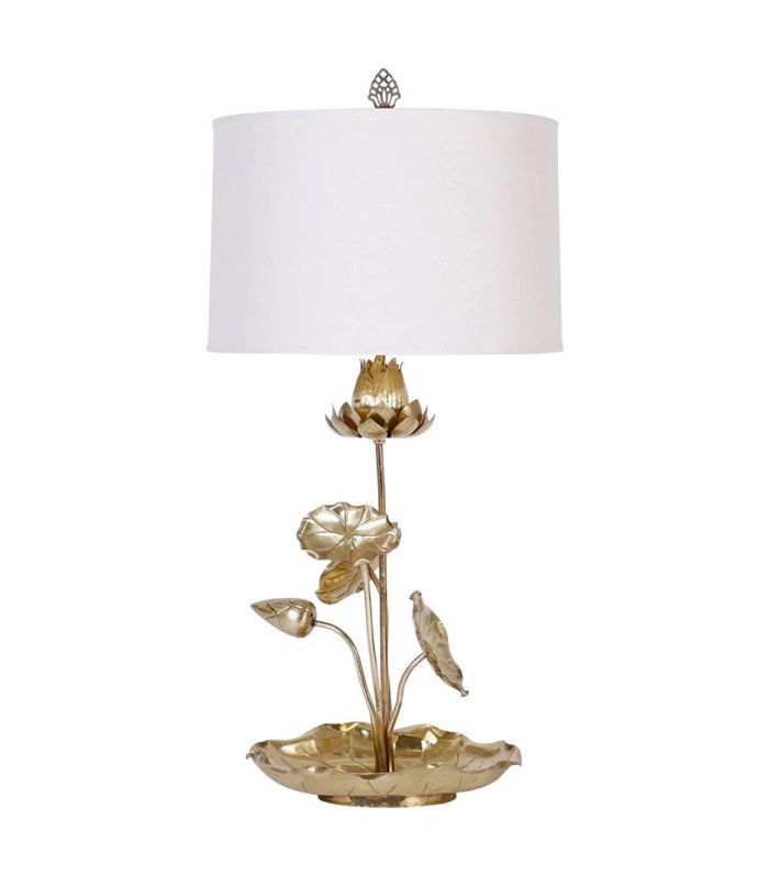 Tropical Brass Lotus Flower Table Lamp