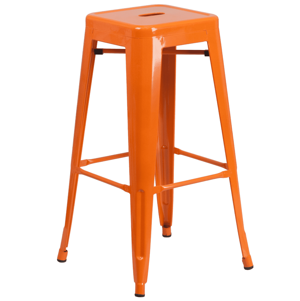 High backless metal barstool with square seat in orange