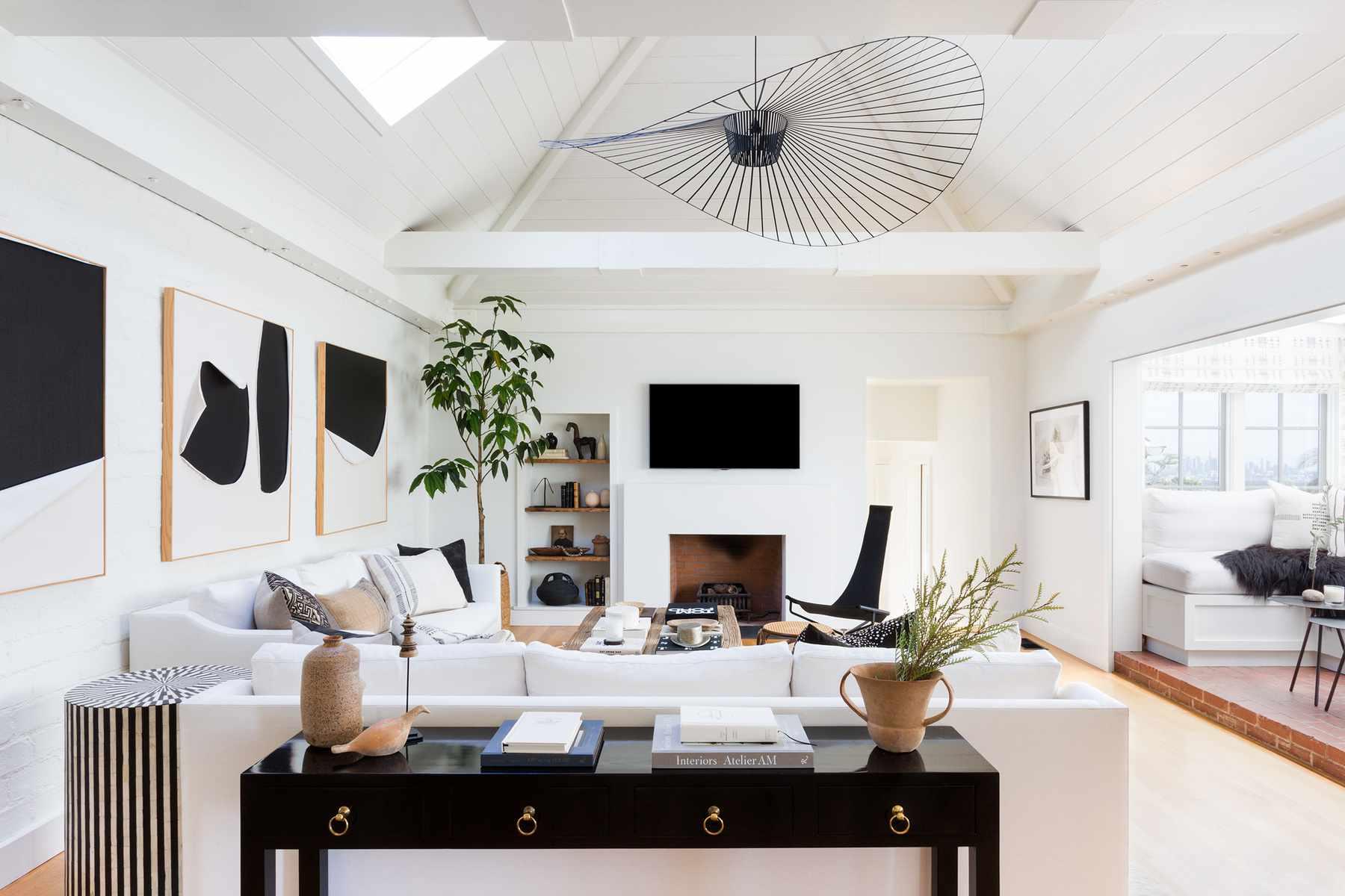 Modern black and white living room.