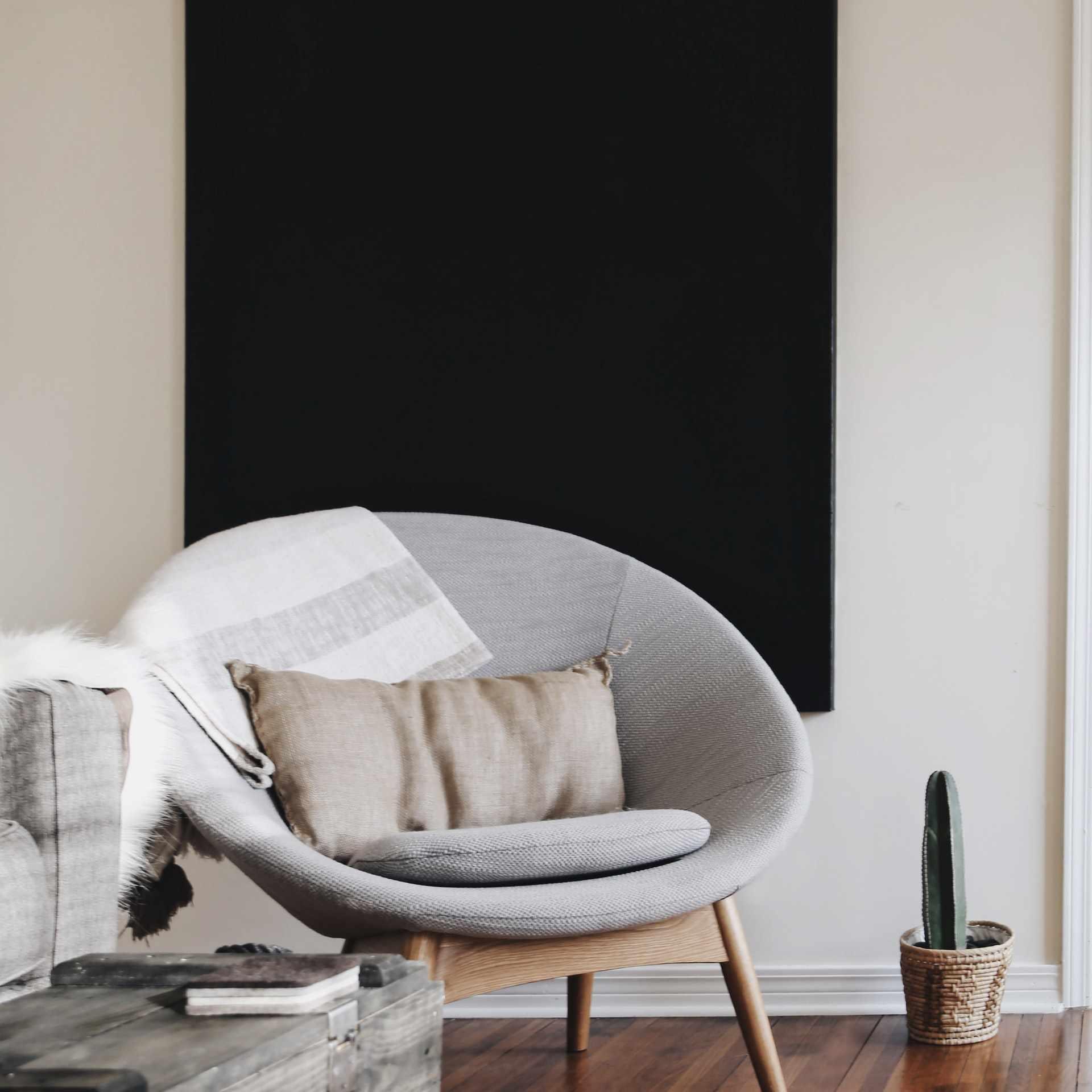 round chair in minimalist room