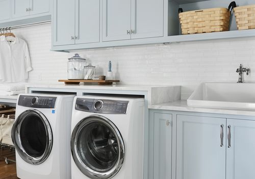 how to clean washing machine - robin's egg blue laundry room