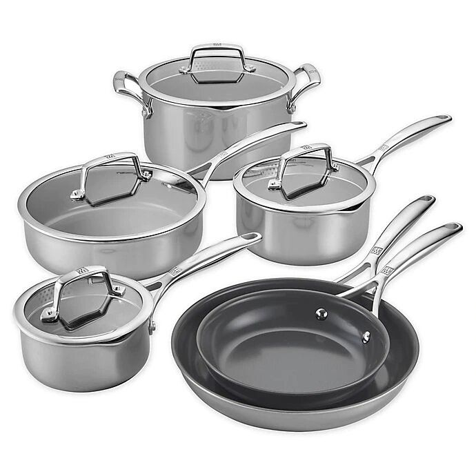 Zwilling J.A. Henckels Energy Plus Nonstick Stainless Steel 10-Piece Cookware Set