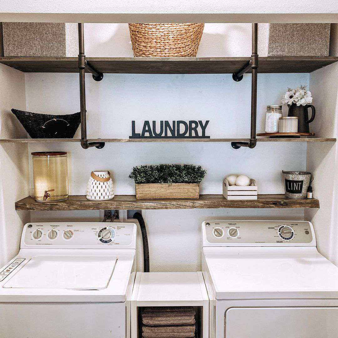 Laundry room with modern shelves