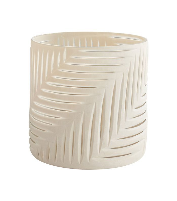 Loa Palm Ivory Glass Hurricane