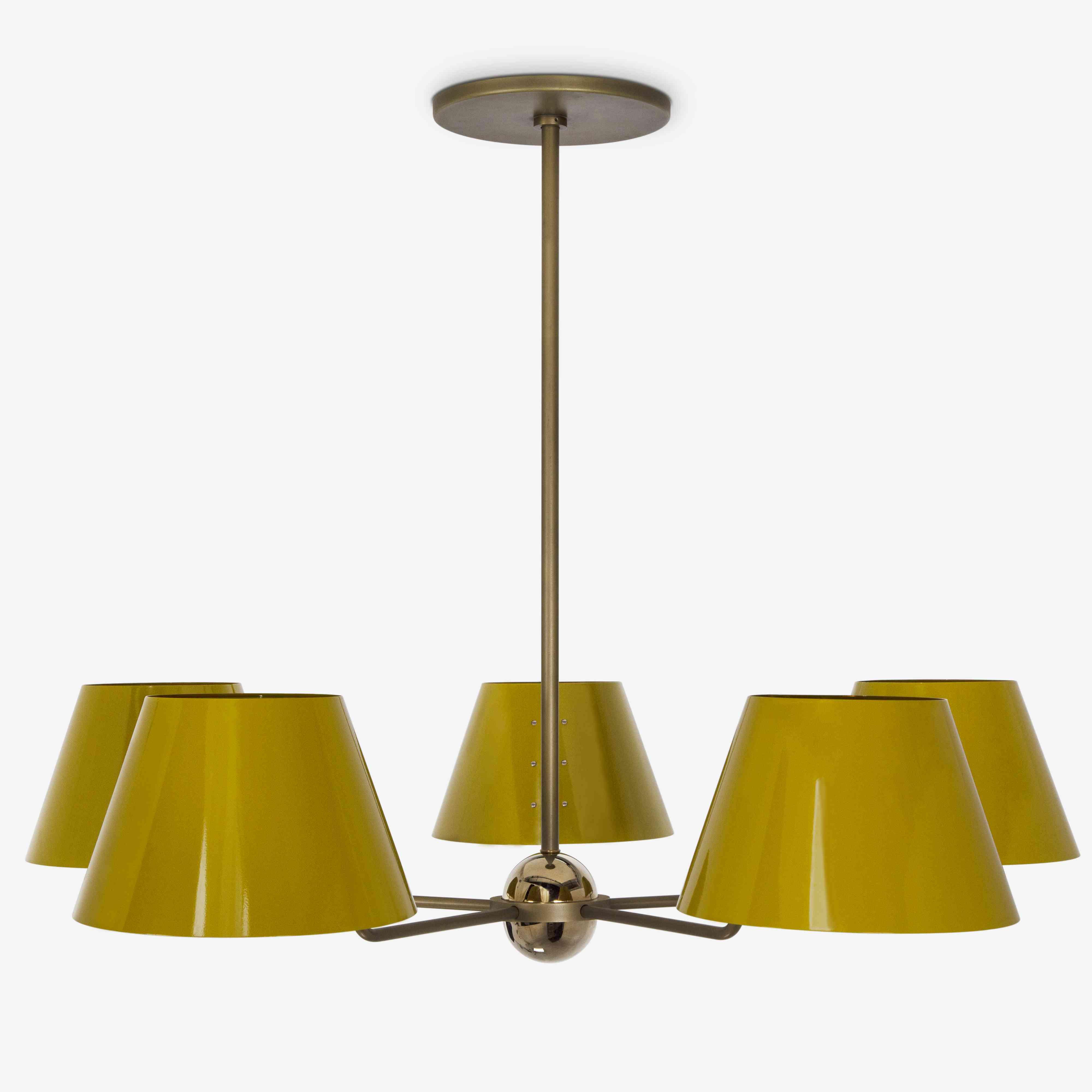 Yellow ceiling lamp.