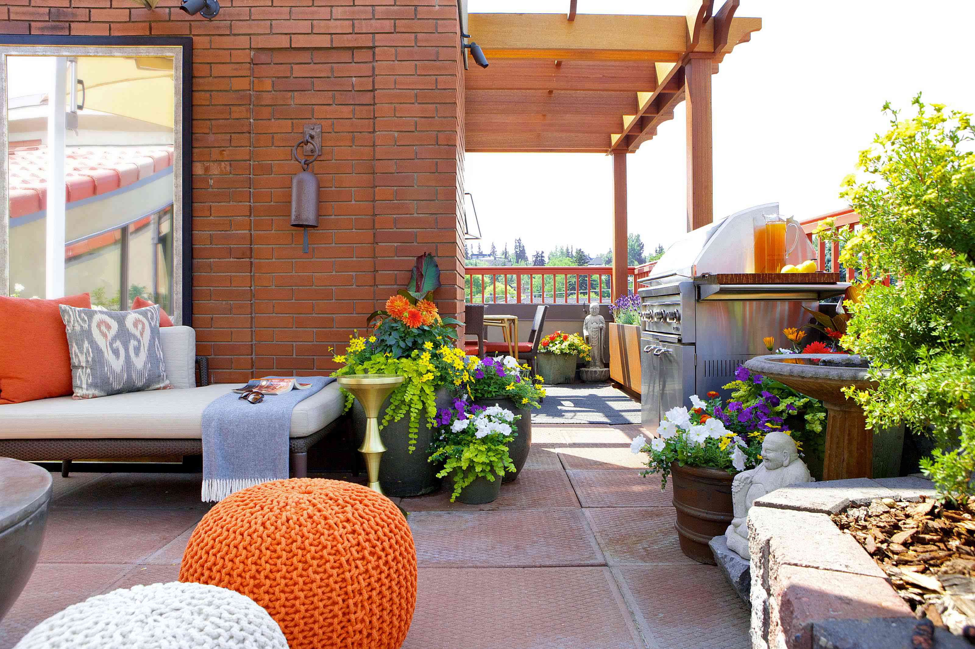 Colorful rooftop outdoor kitchen