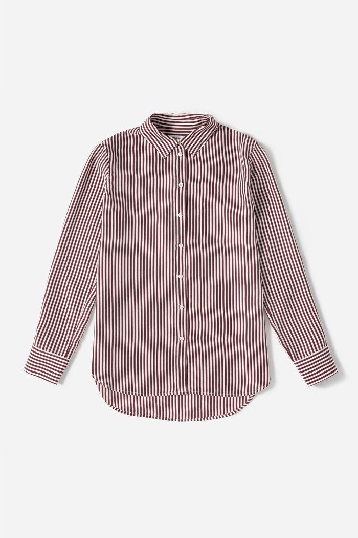 Relaxed Silk Shirt by Everlane in Burgundy/Bone