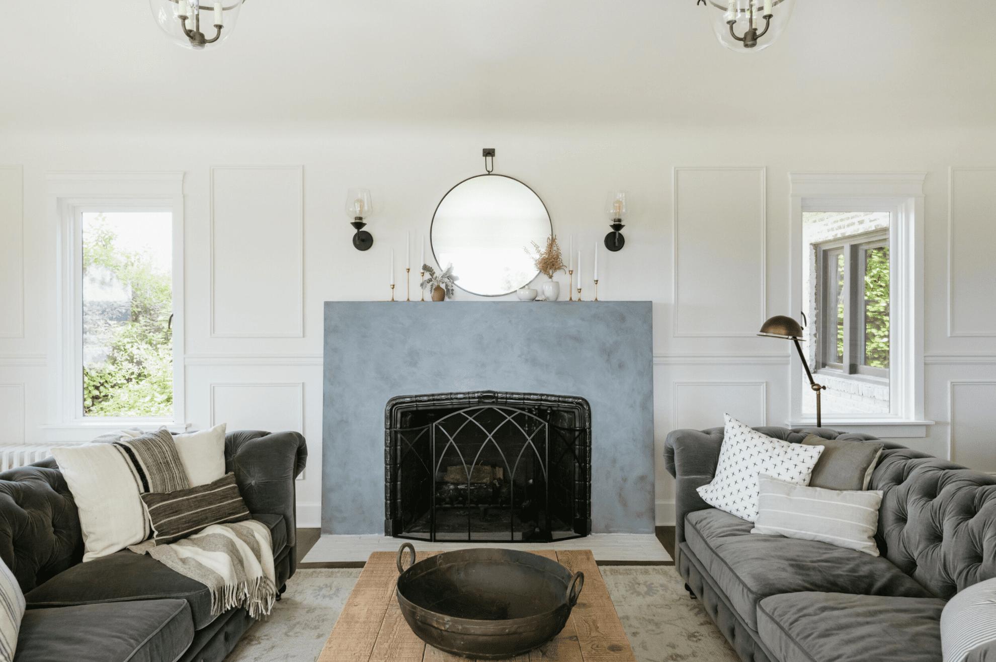 Open concept modern living room.