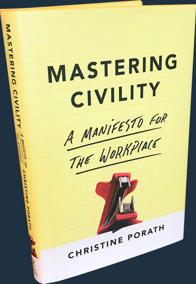 A yellow book cover with black writing entitled, Mastering Civility.