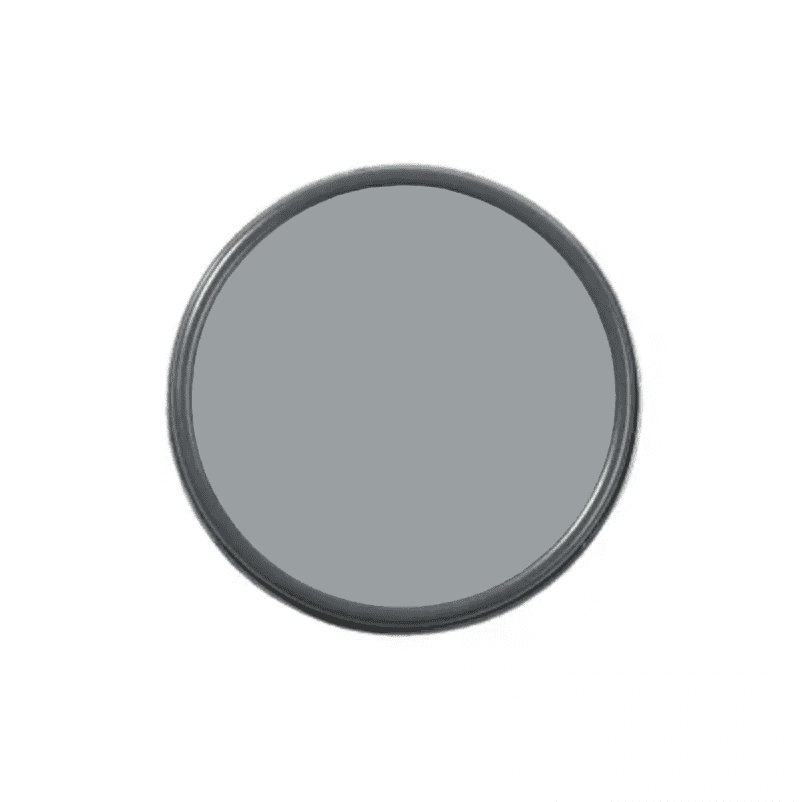 An overhead shot of a paint can with gray paint in it