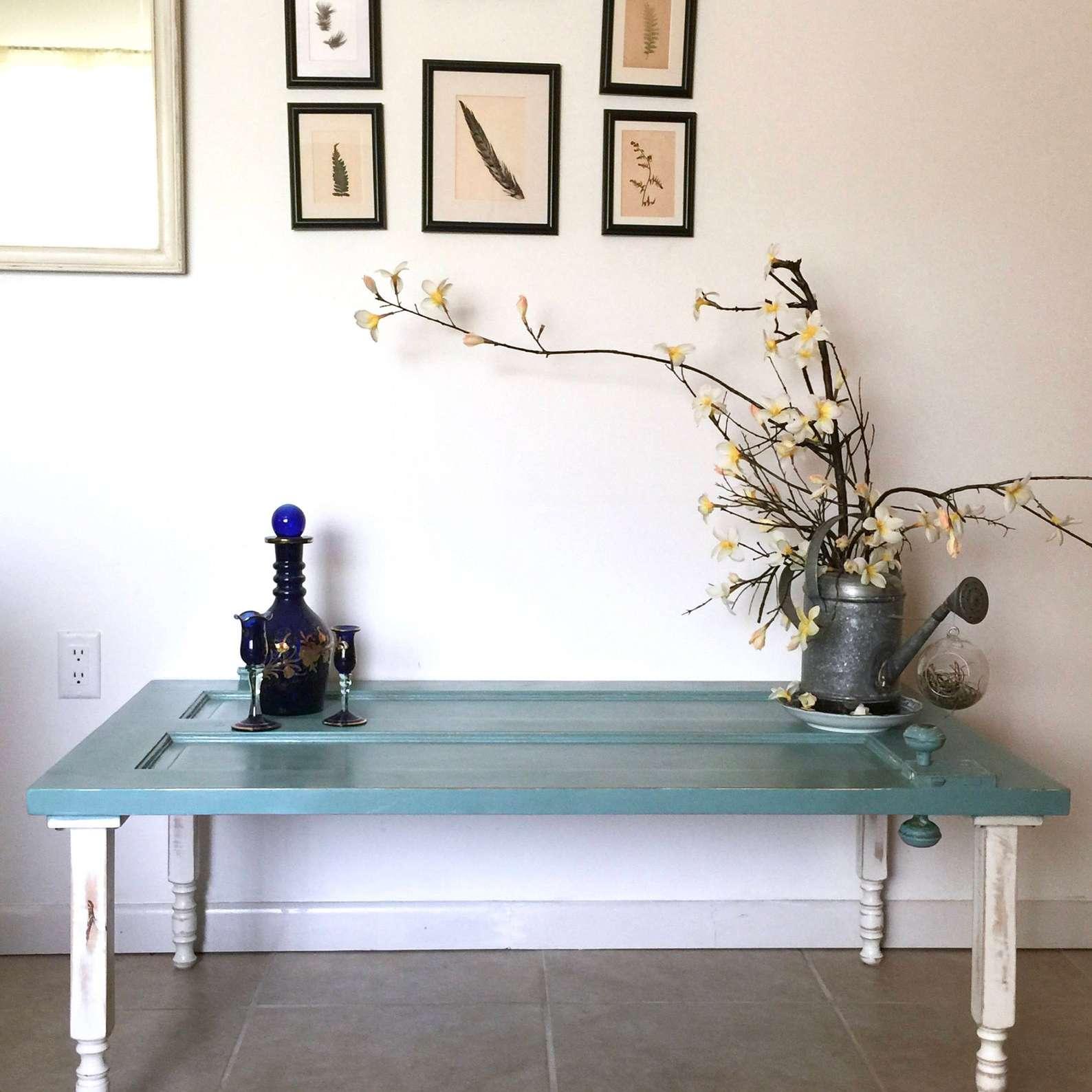 Vintage blue painted door repurposed as coffee table