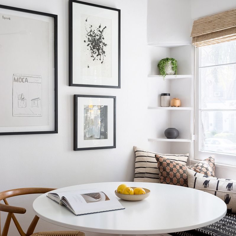 Custom breakfast nook with built-in bench and shelves