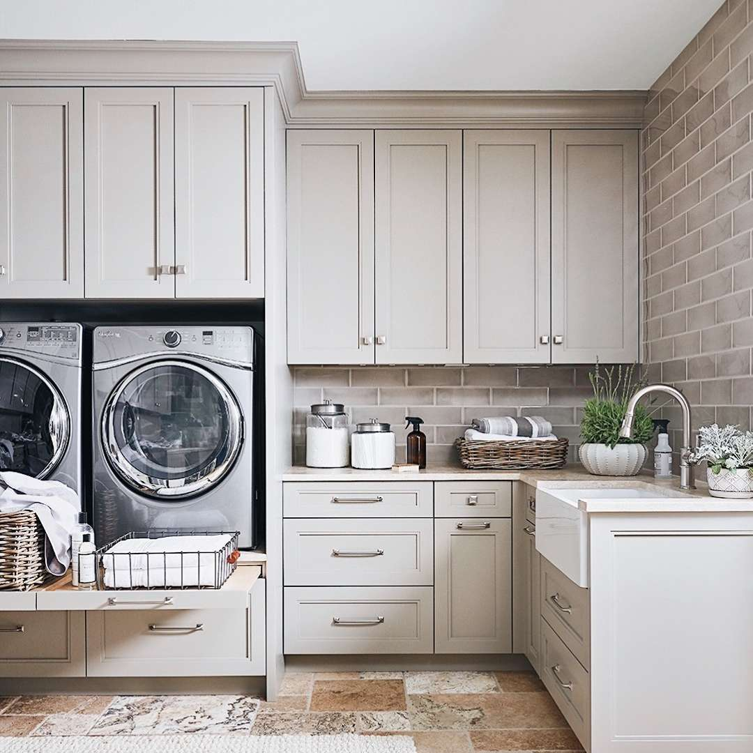 Laundry room with a pull out shelf
