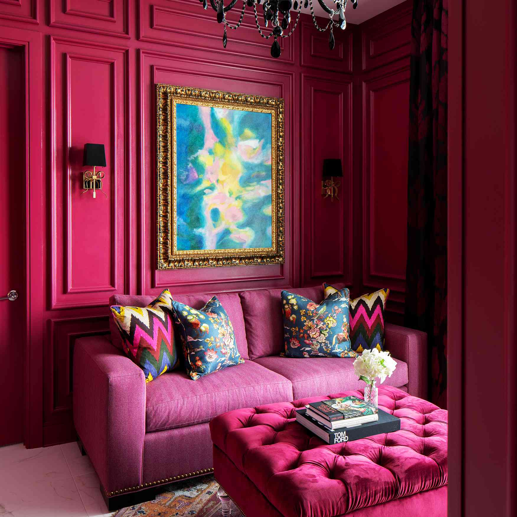 Lisa Gilmore's favorite room - raspberry den with pink furniture