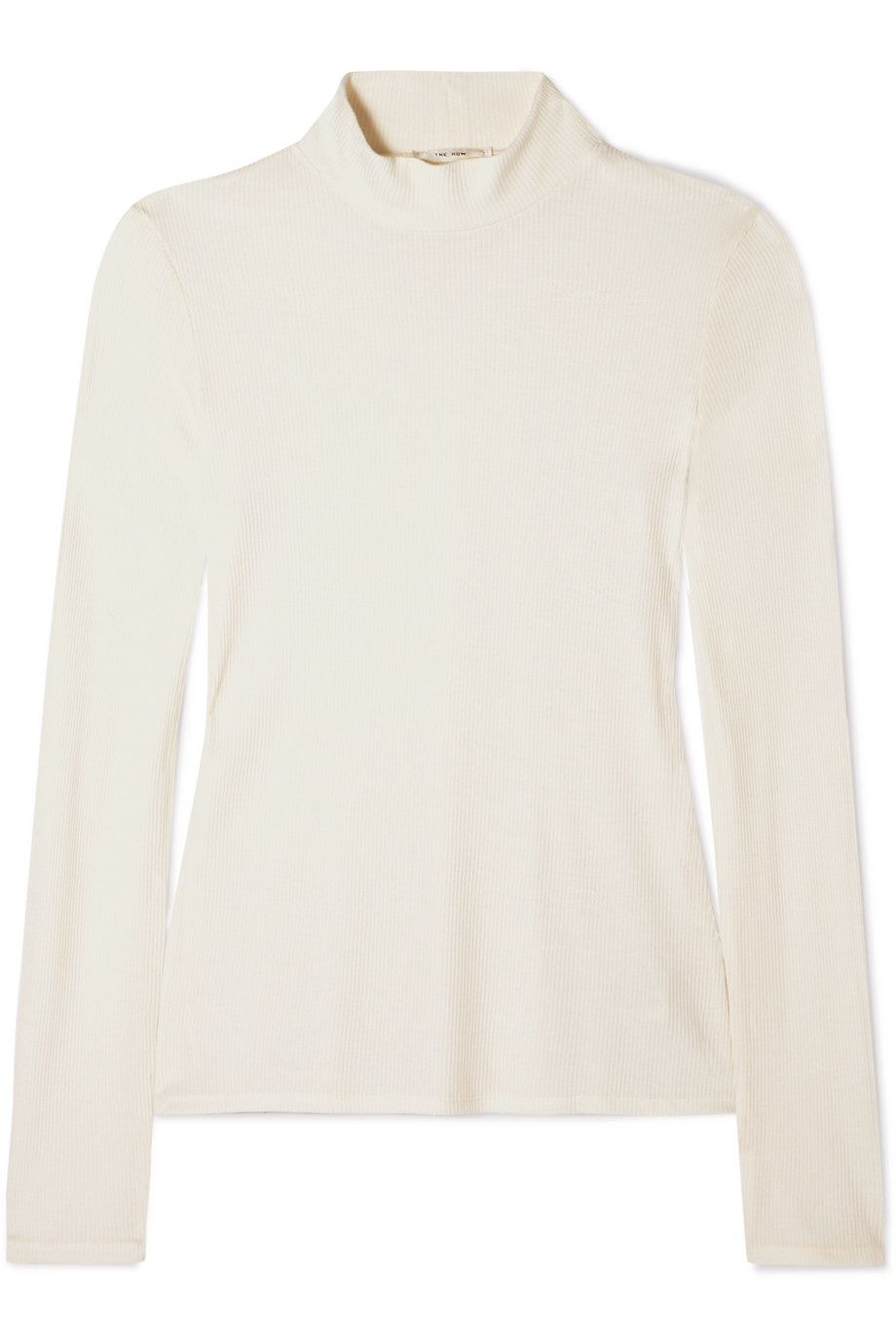 white mock-neck top