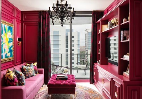 Lisa Gilmore's favorite room - raspberry pink media room